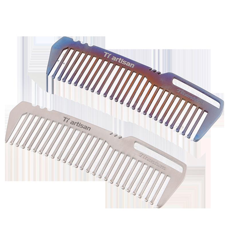 Tiartisan Armor Pure Titanium Comb Durable Antistatic Outdoor Travel Portable Creative Custom Titanium Hair Comb