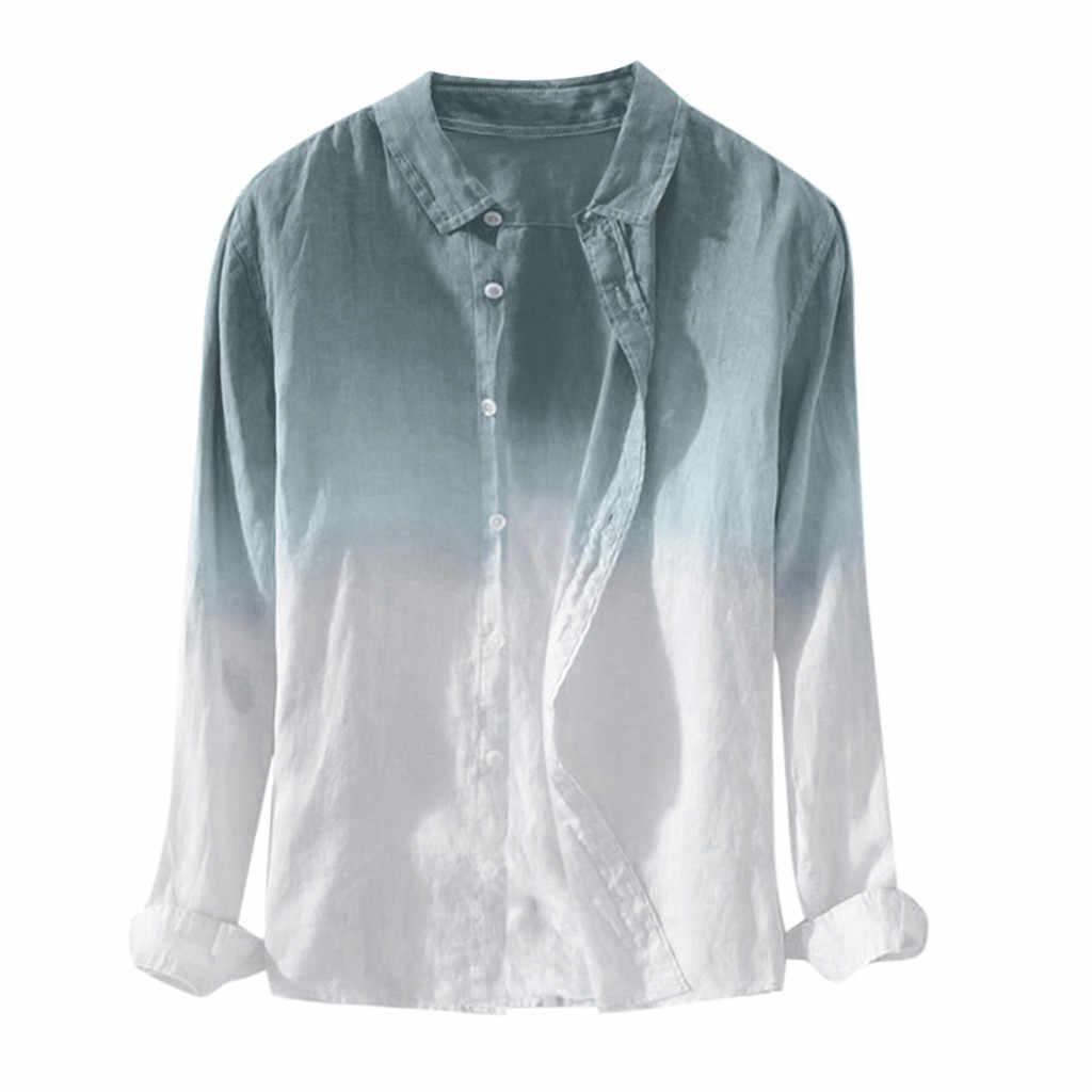 Jaycosin camisas masculinas verão dos homens legal fino respirável lapela colarinho pendurado tingido gradiente camisa de algodão casual magro ajuste