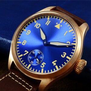 Image 2 - San Martin Bronze Pilot męski zegarek ręczny mechaniczny szafirowy skórzany pasek Luminous wodoodporny przezroczysty futerał z powrotem