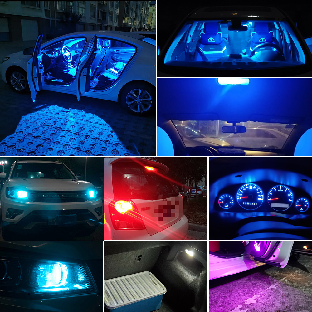 2 W5W 194 T10 Glass Shell Cob LED Car bulb 3000K Amber 6000 White Green Blue Red Wedge License Plate Lamp Dome Light White Diode 6