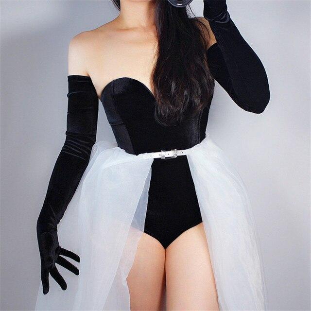 Kadife eldiven 70cm ekstra uzun siyah Opera kadın yüksek elastik kuğu kadife altın kadife dokunmatik ekran kadınlar akşam eldiven WSR26