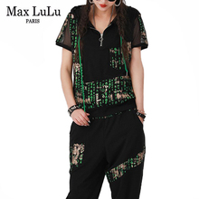 Max LuLu New Fashion 2021 Outfits Women Mesh Spliced Fitness Two Pieces Sets Girl Printed Drawstring Tops And Elastic Harem Pant