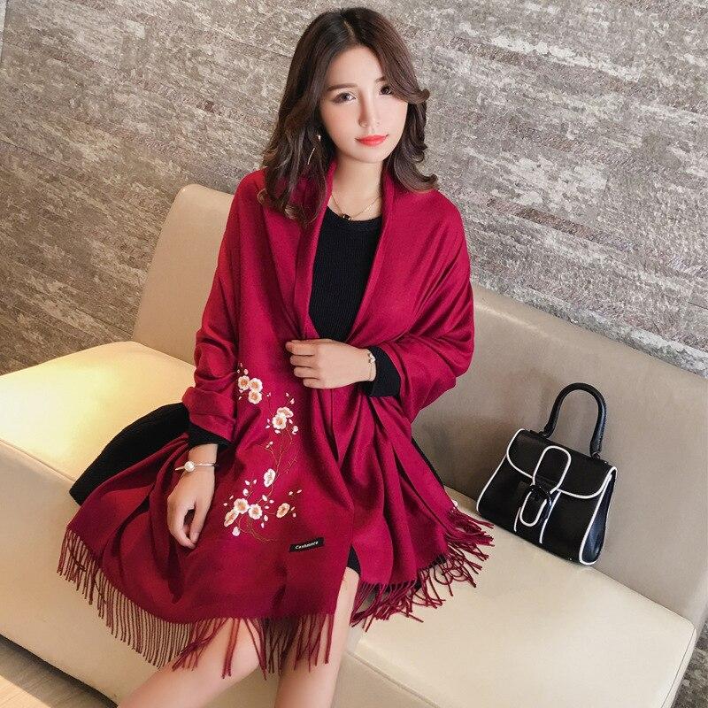 Designer 2020 Embroidery Autumn Winter   Scarf   Women Warm Cashmere   Scarves   Shawls Female Luxury Pashmina   Scarf   Lady Blanket   Wraps