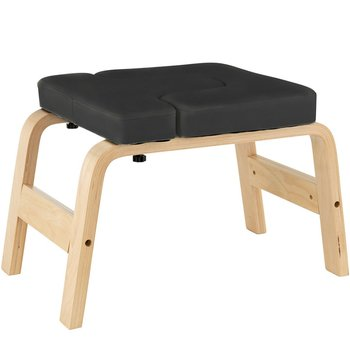Yoga Headstand Inversion Bench Chair Fitness Training Equipment Home Gym Black Wooden Yoga Inverted Stool Chair Body Building