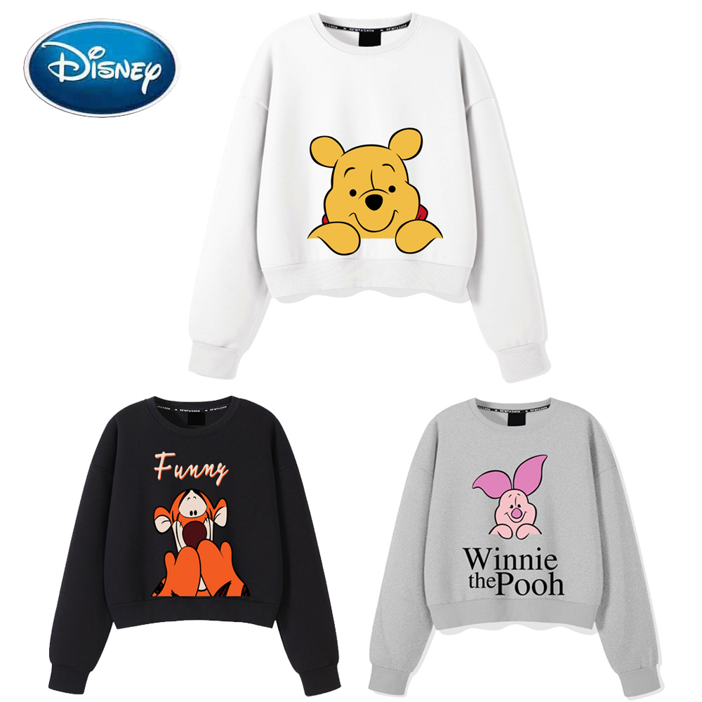 Disney Sweatshirt Fashion Winnie the Pooh Bear Piglet Tiger Cartoon Letter Print O-Neck Pullover Unisex Women Long Sleeve Tops
