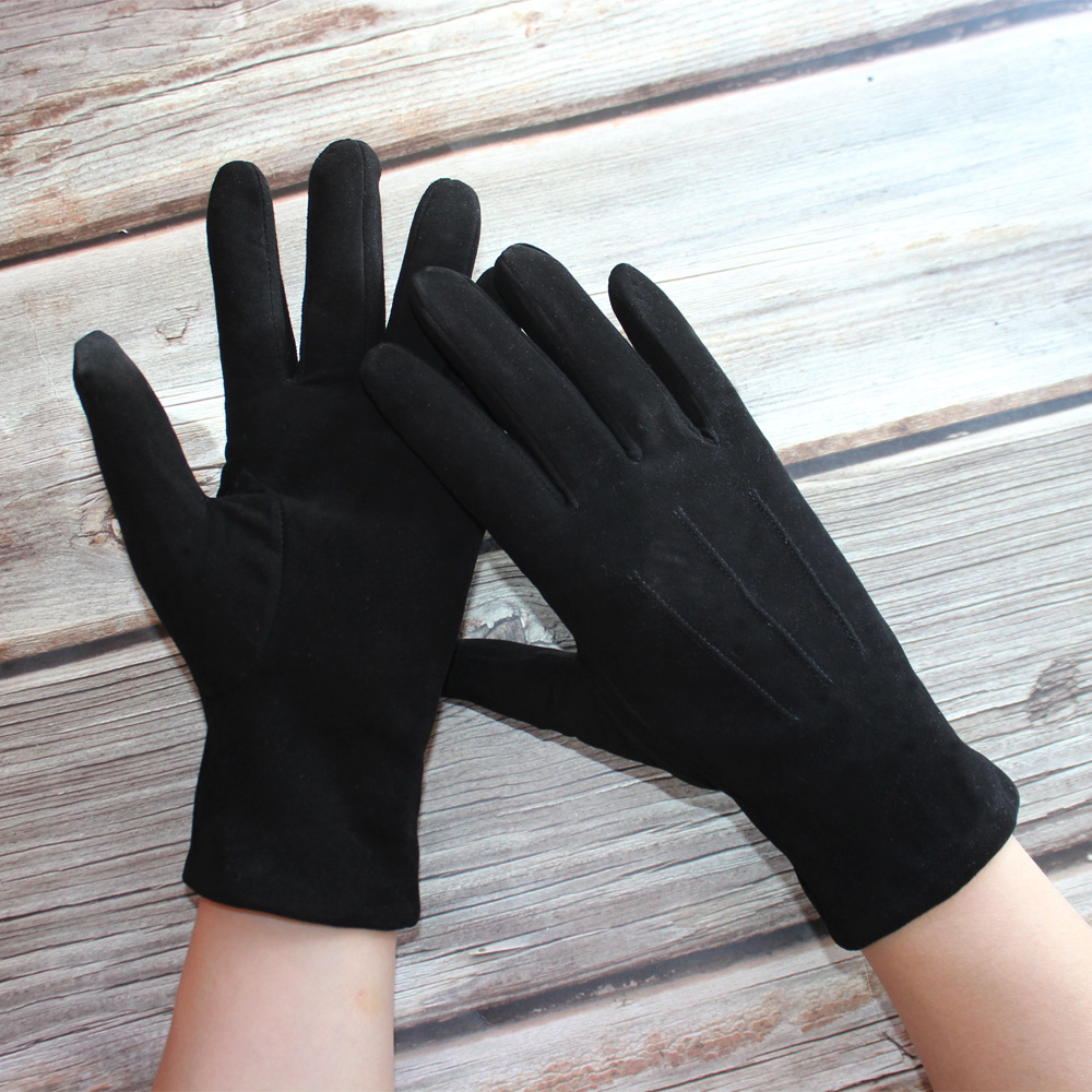 Sheepskin Suede Gloves Female Leather Black Velvet Lining Fashion Hand Repair New Autumn and Winter Warmth Outdoor Travel Points