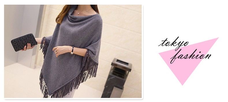 Women Spring Autumn Knitted Sweater Poncho Coat 39