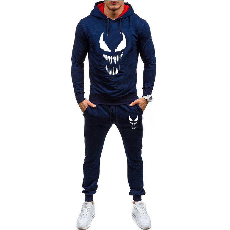 2019 Fashion New Style Men Set Sporting 2 Pieces Sweatsuit Men Clothes Printed Hooded Hoodies Jacket Pants Track Suits Male