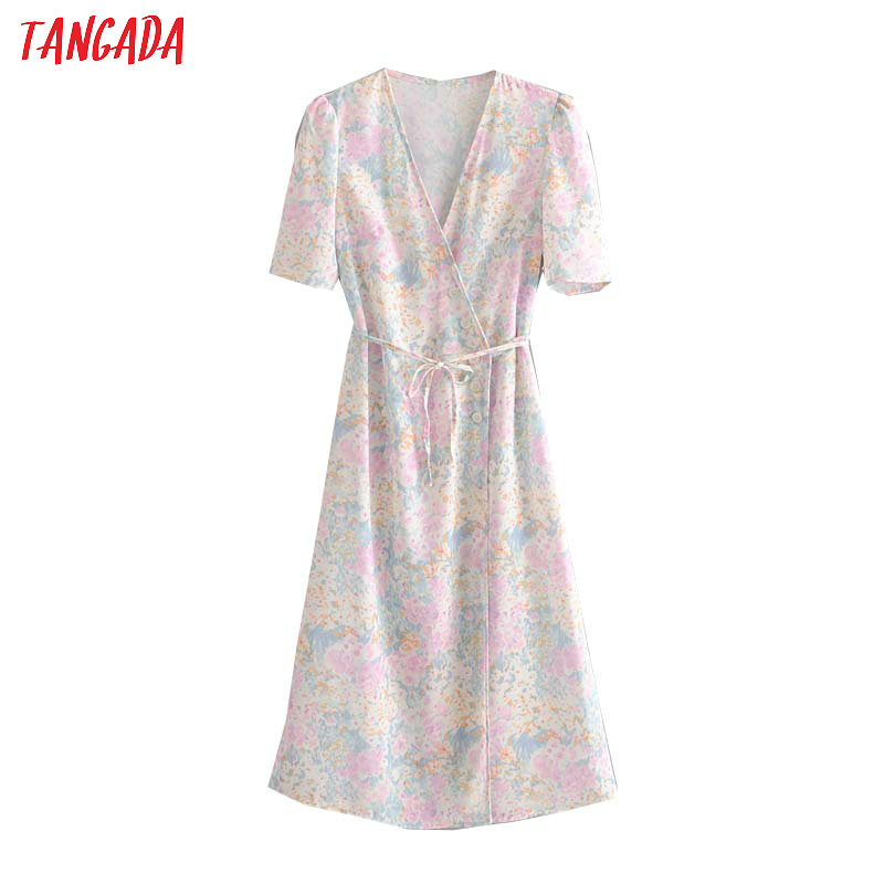 Tangada Fashion Women Summer French Style Print Midi Dress V Neck Short Sleeve Ladies Vintage Chiffon Dress Vestidos 1T11