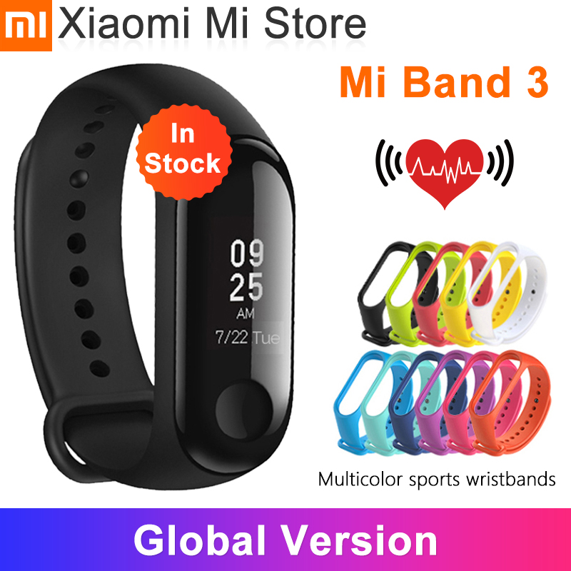In Stocks Xiaomi Mi Band 3 Smart Wristband Fitness Bracelet MiBand Big Touch Screen OLED Heart Rate Time For Redmi Note 8 Pro