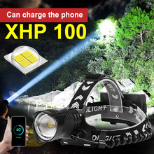high lumens powerful Headlamp Rechargeable led Headlight flashlight XHP100 XHP70.2 use 18650 batterys hunting head torch lamp(China)