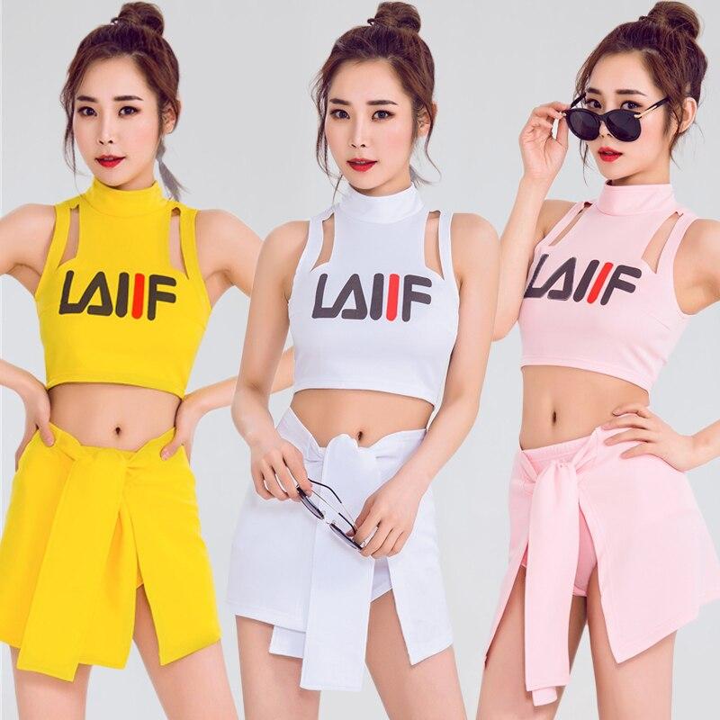 Jazz Dance Costumes Adults Cheerleader Clothing Hip Hop Street Dancing Performance Wear Women NightclubDj Rave Outfit DT1646