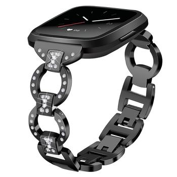 For Fitbit Versa / Versa 2 / Versa lite watch band stainless steel diamond bracelet strap Fashion metal band for fit bit versa 2 фото