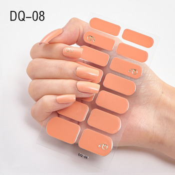 14pcs/sheet Glitter Gradient Color Nail Stickers Nail Wraps Full Cover Nail Polish Sticker DIY Self-Adhesive Nail Art Decoration 105