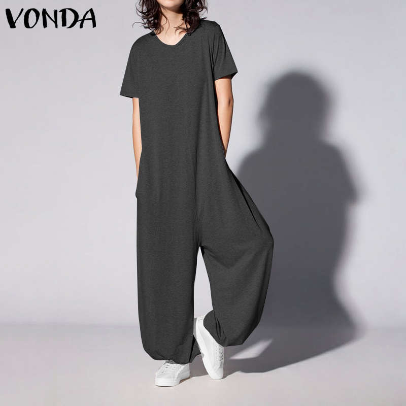 Casual Rompers Womens Jumpsuits VONDA 2020 Vintage Short Sleeve Solid Playsuits Ladies Office Overalls Plus Size Loose Pants
