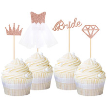 4pcs Rose Gold Glitter Bride To Be Cupcake Toppers Diamond Crown 3D Wedding Dress Cake for Bridal Shower Supplies