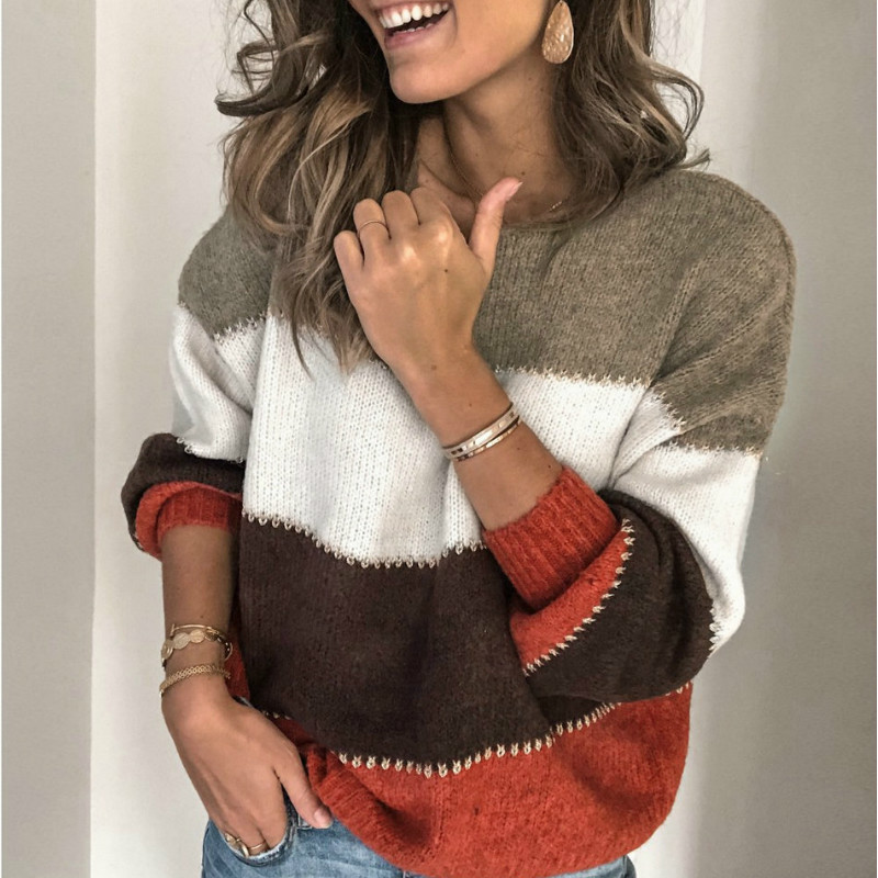 Women Streetwear Knitted Striped Sweater Elegant  Jumper Long Sleeve O neck Pullover Tops2020 Autumn New Arrivals
