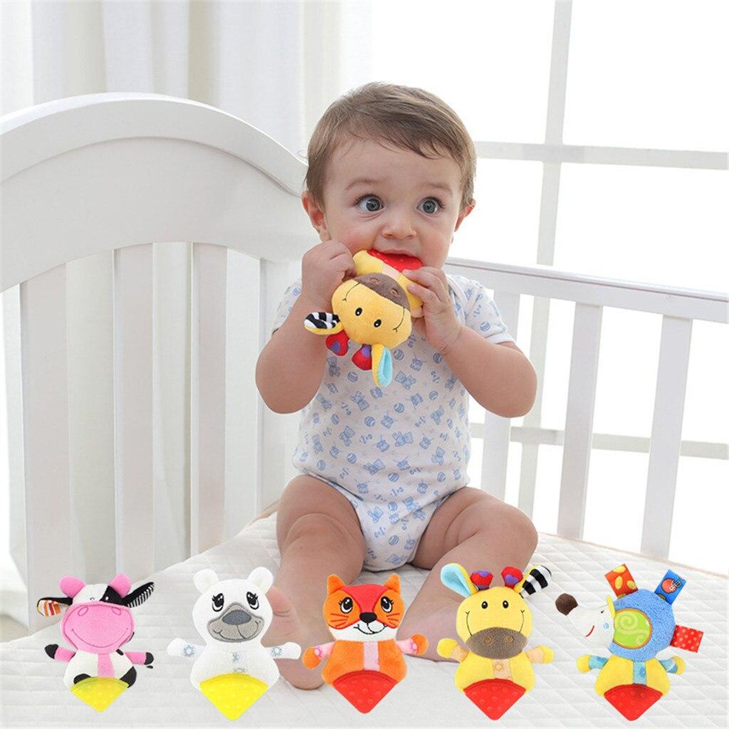 Developmental Baby Toys Plush Toys Animal Handbells Musical With Gutta Toys Gift Soft Stuffed Rattle Kids Grip Music Toy Y1217