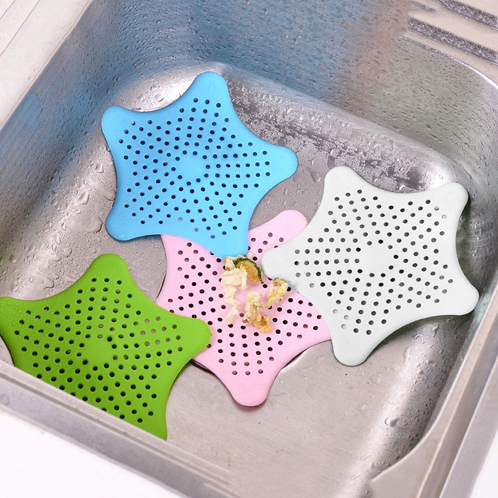 Silicone Star Shape Kitchen Sink Strainer Shower Drain Hair Catcher Anti-Clogging Floor Sink Filter Bathroom Kitchen Accessories