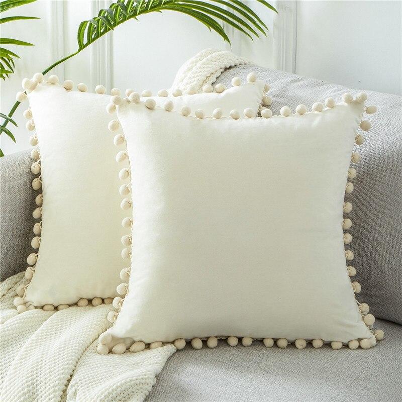 Velvet Square Pillow Cases Tassel Ball Throw Waist Cushion Cover Christmas Decor