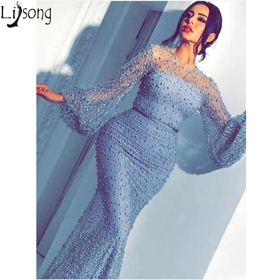2019 New Middle East Dubai Long Sleeve Prom Dresses Beaded Luxury Arabic Sheath Sheer Neck Formal Dress Evening Party Gown