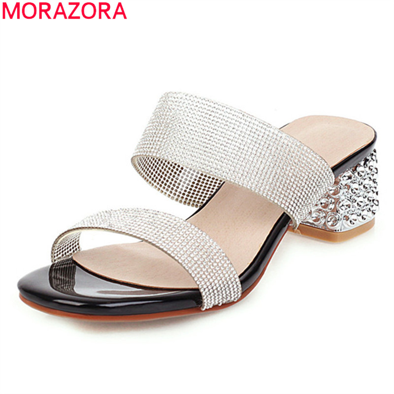 MORAZORA Plus Size 34-43 Summer Women Mules Shoes Fashion Square Heels Ladies Sandals Pu Leather Simple Mules Shoes