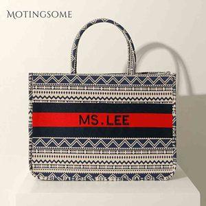 Image 4 - Women Tote Bag Striped High Quality Canvas Shoulder Bag Luxury Shopper Large Bag Bohemian National Style Handbag for Lady 2019