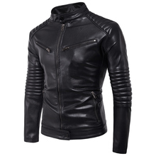 Mens Fashion Wave Cut Motorcycle Jacket 2018 New Autumn Winter PU Leather