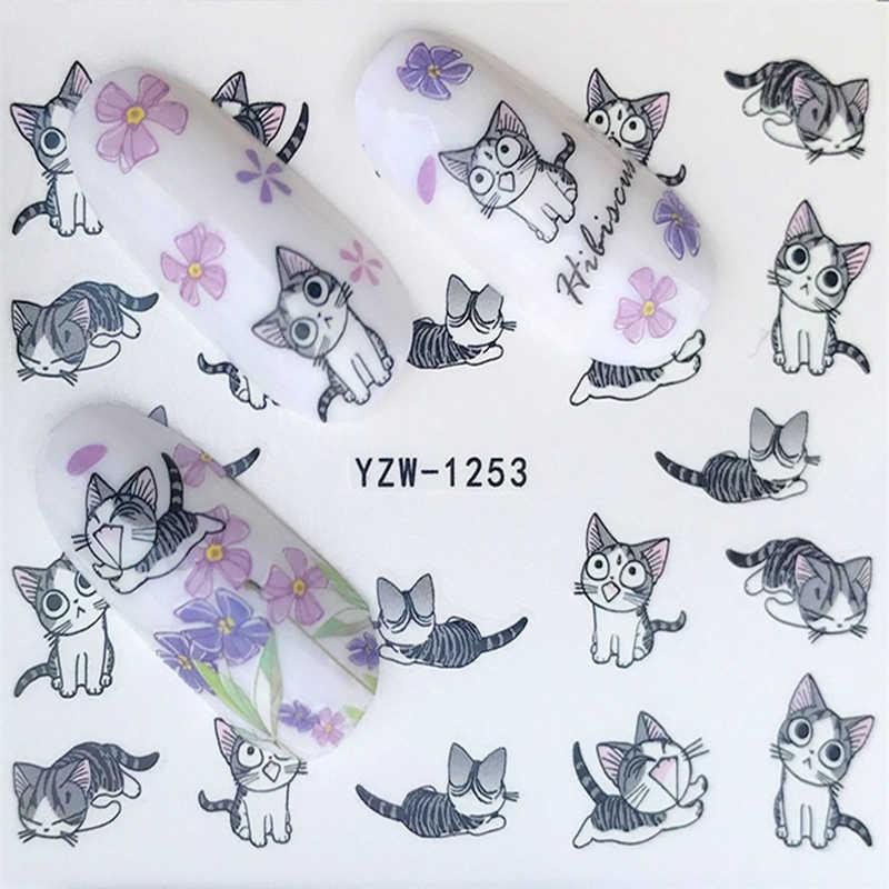 1 시트 물 전송 네일 스티커 귀여운 만화 새끼 고양이 호일 아트 손톱 스티커 지퍼 활 꽃 네일 applique 쥬얼리