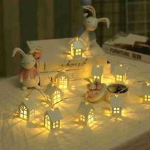 1.5M 3M New Wooden Love House 10 LEDs  20 Light String Christmas Day Decorative Wood LED Lights Decoration