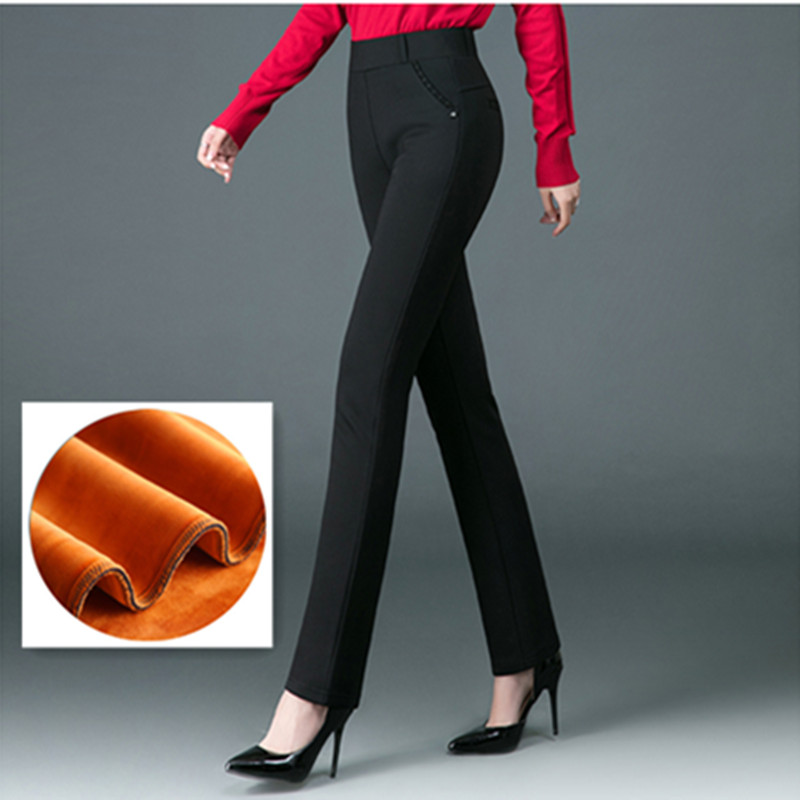 2020 New Style Woman Winter Fashion Warm Thick Velvet Straight Trousers High Waist Plus Size Comfort Soft Keep Warm Trousers|Pants & Capris| - AliExpress