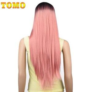Image 2 - TOMO 70 ซม.ยาวตรง Ombre วิกผมสังเคราะห์สำหรับผู้หญิงคอสเพลย์วิกผมธรรมชาติสีชมพูสีแดงสีเขียวสีบลอนด์สีน้ำตาลความร้อนสีเทาผม
