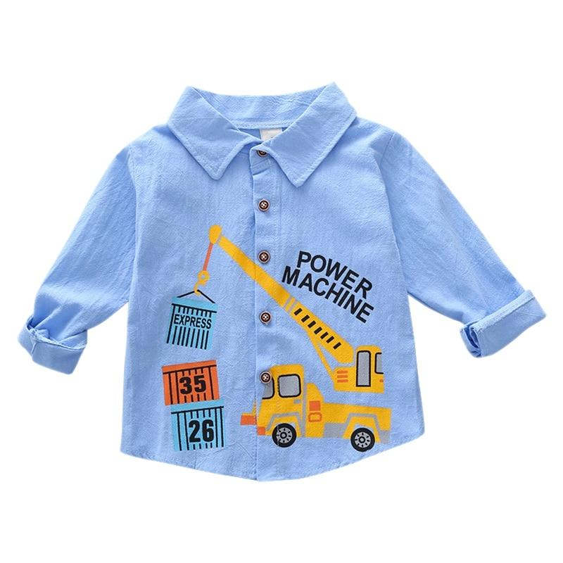 Autumn   Shirts   Baby Boys Long Sleeve Cartoon Car Print   Shirts   Kids Tops Tees   Shirts   Casual   Blouse