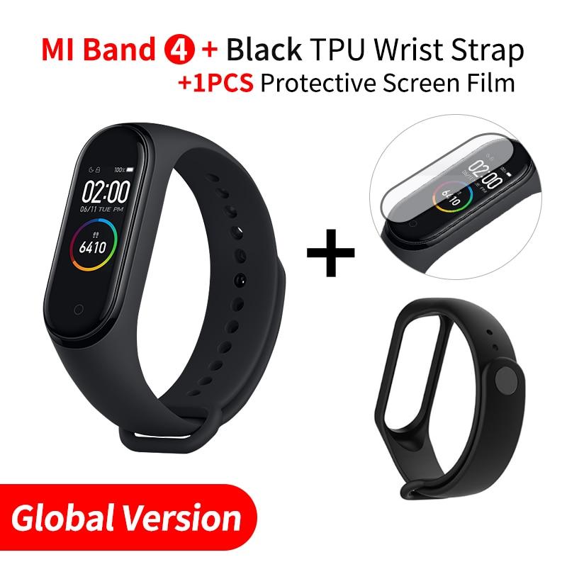 Xiaomi mi Band 4 Smart mi band 3 Цвета экран Браслет фитнес-трекер для измерения сердечного ритма Bluetooth 5,0 водонепроницаемый банда4 - Цвет: EN Add Black Strap