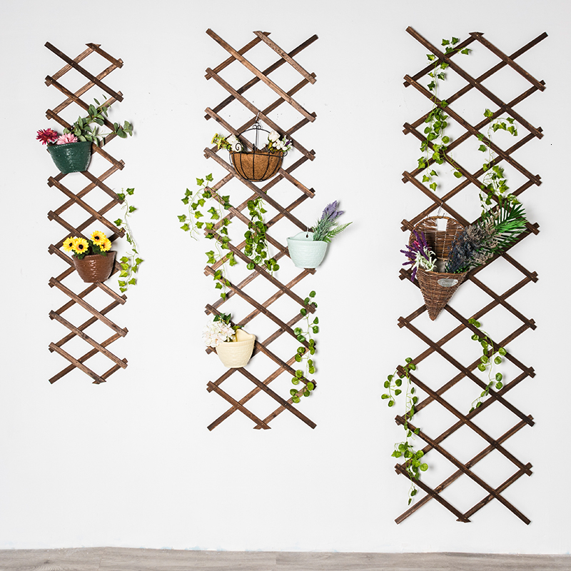 Rack Arbor Woodiness Wall Wall Hanging Flower Bracket Anticorrosive Wood Telescopic Network Balcony Enclosure Solid Wood Fence