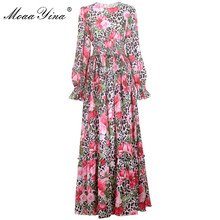 MoaaYina Fashion Designer Runway dress Spring autumn Women Dress Long sleeve Leopard Floral-Print Elastic waist Maxi Dresses
