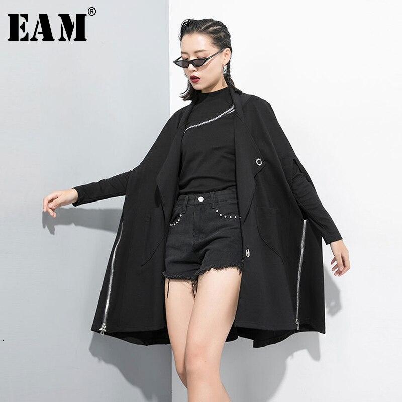 [EAM] Women Black Oversize Zipper Trench New Lapel Stand Sleeve Loose Fit Windbreaker Fashion Tide Autumn Winter 2019 1B699