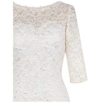 Angel-fashions Half Sleeves Beading Lace Mermaid Long Evening Dress Abendkleid White 415