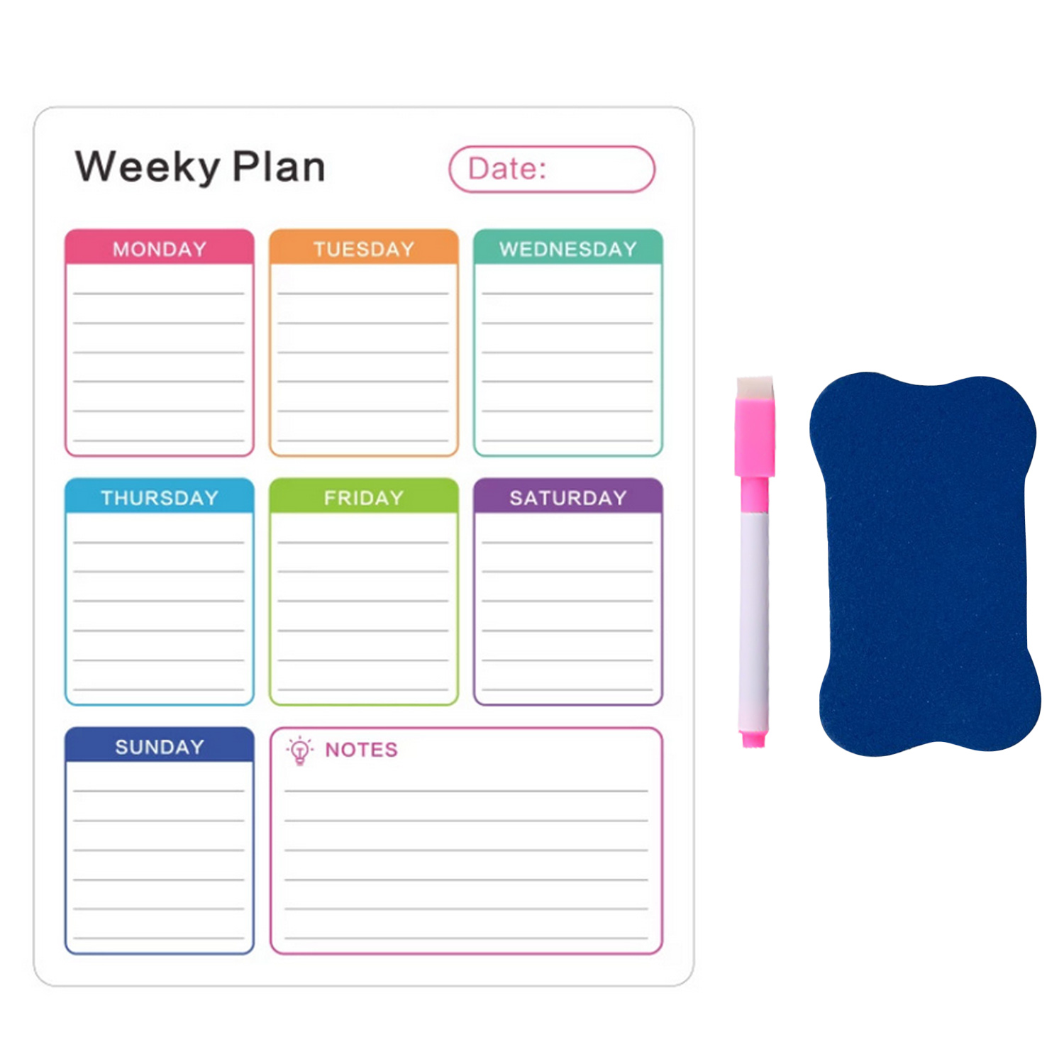 Magnetic Weekly Planner Dry Erase Calendar Board Refrigerator Magnet With 4 Erase Markers For Home School Office Shops 40 X 30cm