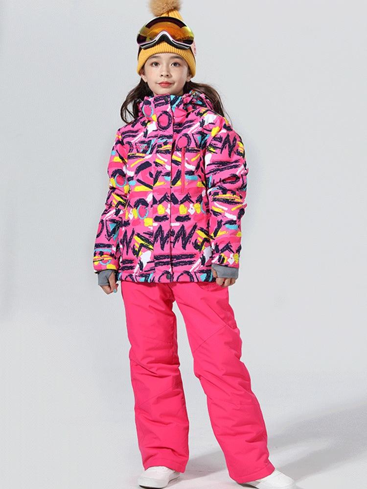Trajes de esquí para niños traje de invierno para niños traje de esquí para niñas chaqueta de Snowboard pantalones de nieve para niños traje deportivo de invierno para niños esquí Snowboard 6-16T