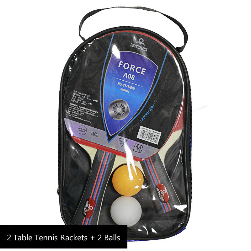 Купить с кэшбэком 2Pcs Table Tennis Racket Long Handle Short Handle Rubber Carbon Double Face Pimples Ping-Pong Rackets Bat With 2 Balls and Case