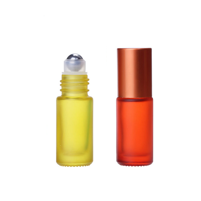 1/5/10PCS 5ml Portable Roller Essential Oil Perfume Thick Glass Bottles Travel Refillable Frosted Colorful Roller Ball Bottle