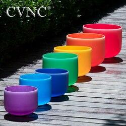 CVNC 6 -12 Chakra Hinweis Set von 7 stücke CDEFGAB Farbige Frosted Quarz Kristall Singen Schüssel