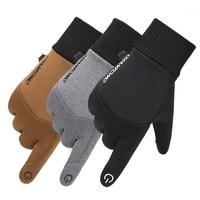 Guantes de deportes al aire libre para hombre y mujer, guantes de esquí antideslizantes para pantalla táctil, guantes calientes vellón