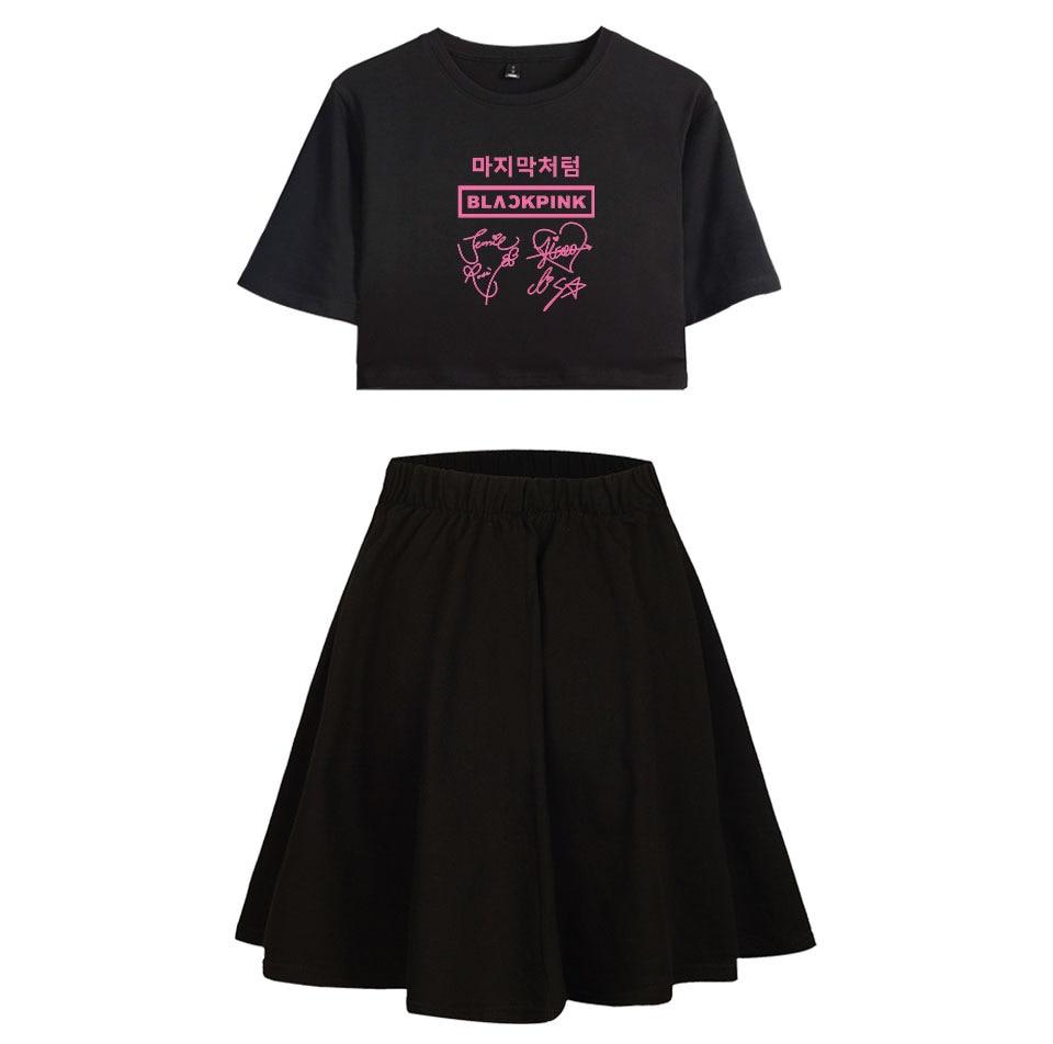 SOURCE Black Pink Loose-Fit GIRL'S Navel Short Sleeve T-shirt Short Skirt Set