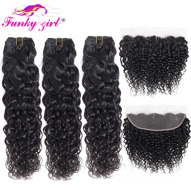 Funky Girl Brazilian Water Wave Human Hair 2/3/4 Bundles With Lace Frontal Closure With Bundles Ear To Ear Lace Frontal Non-Remy