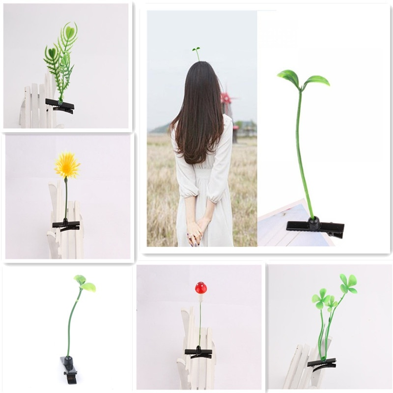 New 4 Pcs Unisex Funny Grass Clips Adorable Flower Mushroom Grass Sprout Bean Antenna Hairpins Headwear  Hair Claw Clip Clamp