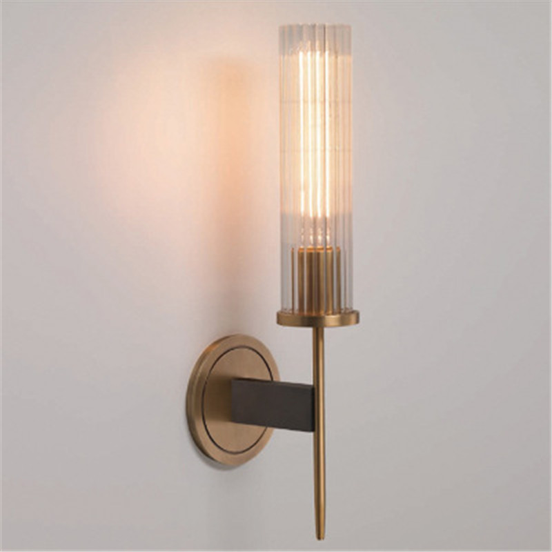 Creative Loft luxury wall lamp Postmodern Bathroom Bedside Bedroom Glass Hotel Room Brass Wall Sconce Light