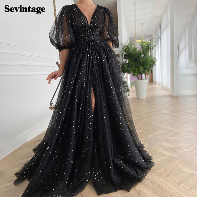 Sevintage Black Starry Tulle Prom Dresses Half Puff Sleeves Wedding Party Dresses Pleats Split Sweep Train Long Prom Gowns Belt 1