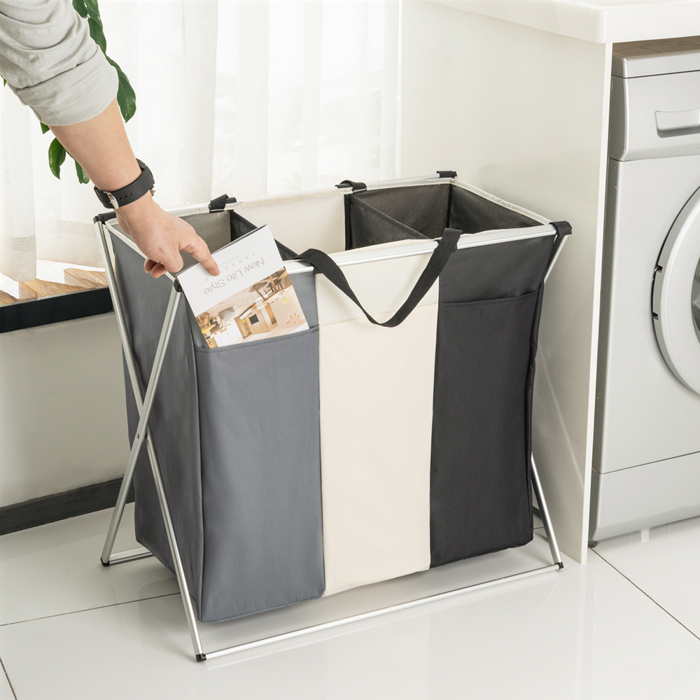 Image 2 - Shushi Foldable Dirty Laundry Basket Organizer Collapsible Three Grid Home Laundry Hamper Sorter Waterproof Laundry Basket Large-in Storage Baskets from Home & Garden